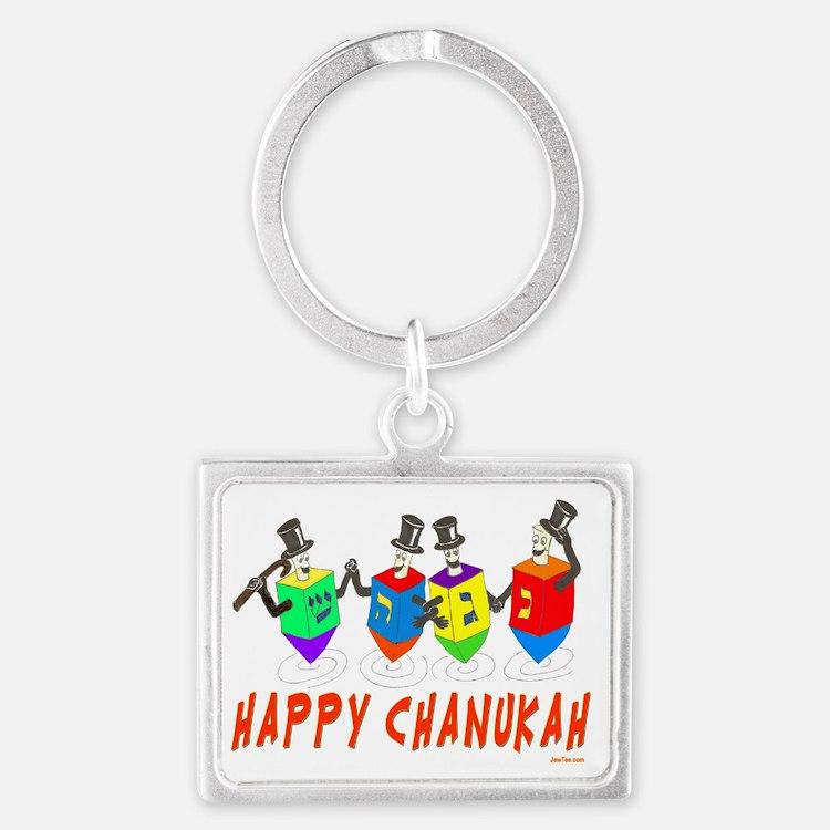 happy chanukah dreidelsflat Landscape Keychain