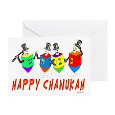 happy chanukah dreidelsflat Greeting Card