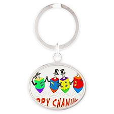 happy chanukah dreidelsflat Oval Keychain