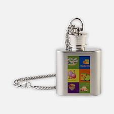Hebrew English Jewish New Year Flask Necklace