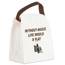 Without Music Lifes Flat Canvas Lunch Bag