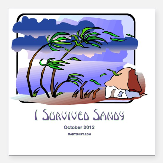 "I Survived Sandy Square Car Magnet 3"" x 3"""