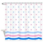 Pastel Polka Dots and Wavy Stripes Shower Curtain