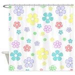 Pastel Flower Pattern Shower Curtain