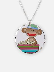 sock monkey popcorn Necklace