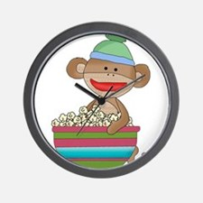 sock monkey popcorn Wall Clock