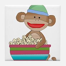 sock monkey popcorn Tile Coaster
