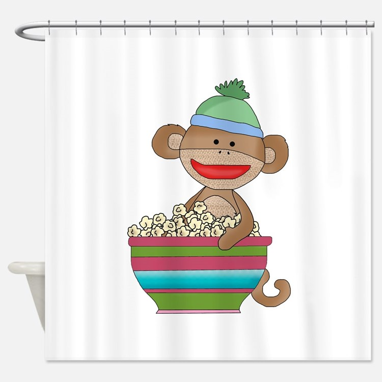 sock monkey popcorn Shower Curtain