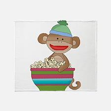 sock monkey popcorn Throw Blanket