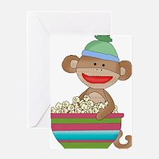 sock monkey popcorn Greeting Card