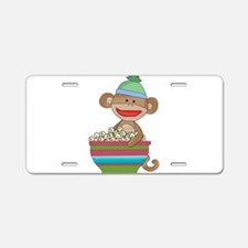 sock monkey popcorn Aluminum License Plate