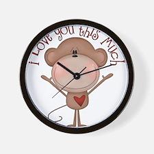 I love you monkey Wall Clock