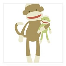 "Sock monkey with baby Square Car Magnet 3"" x 3"""