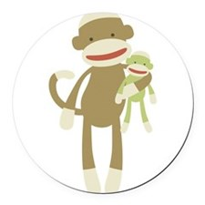Sock monkey with baby Round Car Magnet