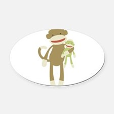 Sock monkey with baby Oval Car Magnet
