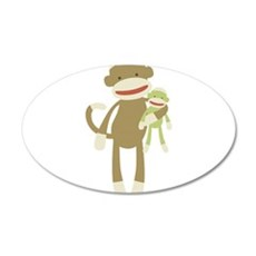 Sock monkey with baby Wall Decal