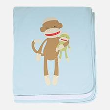 Sock monkey with baby baby blanket