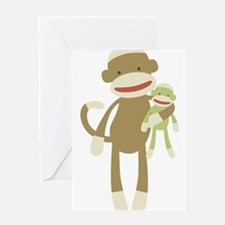 Sock monkey with baby Greeting Card