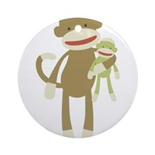 Sock monkey with baby Ornament (Round)