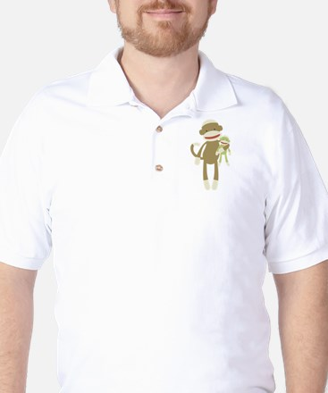 Sock monkey with baby Golf Shirt
