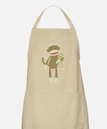 Sock monkey with baby Apron