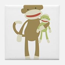 Sock monkey with baby Tile Coaster
