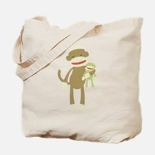 Sock monkey with baby Tote Bag