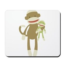 Sock monkey with baby Mousepad