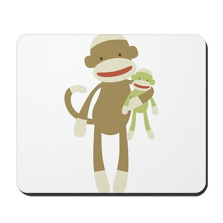 Sock monkey with baby Mousepad