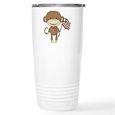 sock monkey with flag Travel Mug