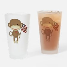 sock monkey with flag Drinking Glass