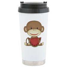 sock monkey with watermelon Travel Mug
