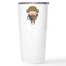 sock monkey with rocket Travel Mug
