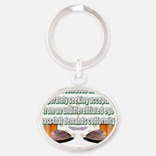confused adolescent Oval Keychain