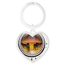 crystalball-wolves-orange Heart Keychain