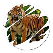 2-seethru-tiger Round Car Magnet