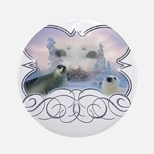 Harp Seal Round Ornament
