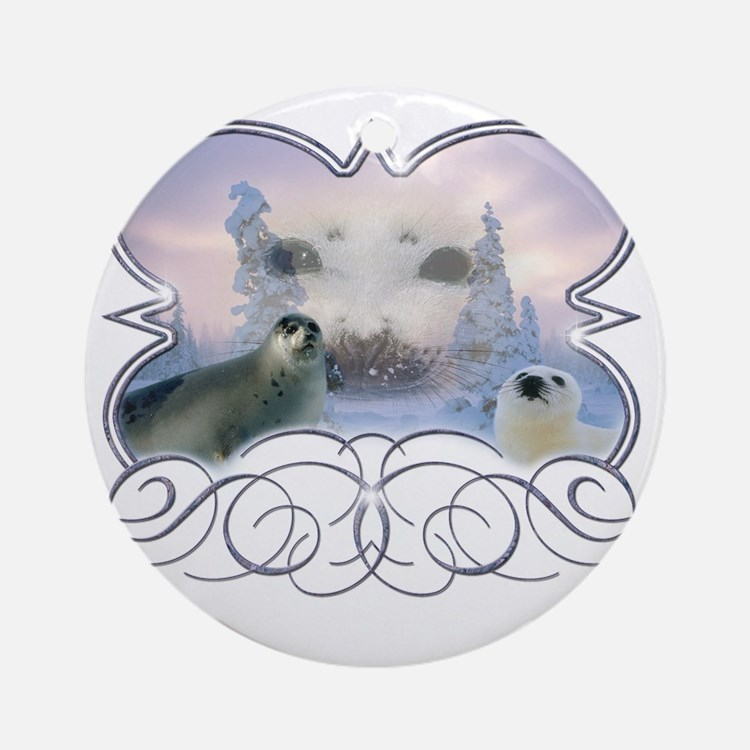 Harp Seal Round Ornament