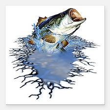 "bassfishing Square Car Magnet 3"" x 3"""
