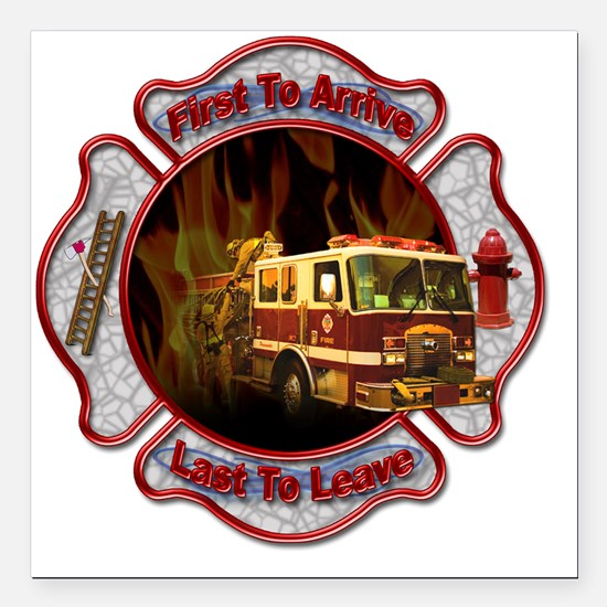 "Firefighters Square Car Magnet 3"" x 3"""