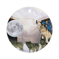 Room Of Wolves Round Ornament