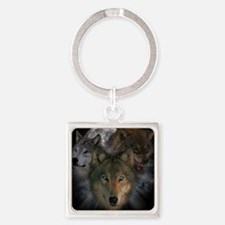 2-wolves Square Keychain
