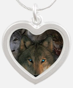2-wolves Silver Heart Necklace