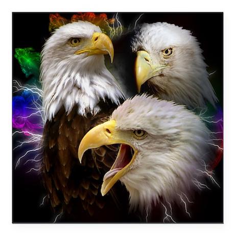 "2-eagles Square Car Magnet 3"" x 3"""