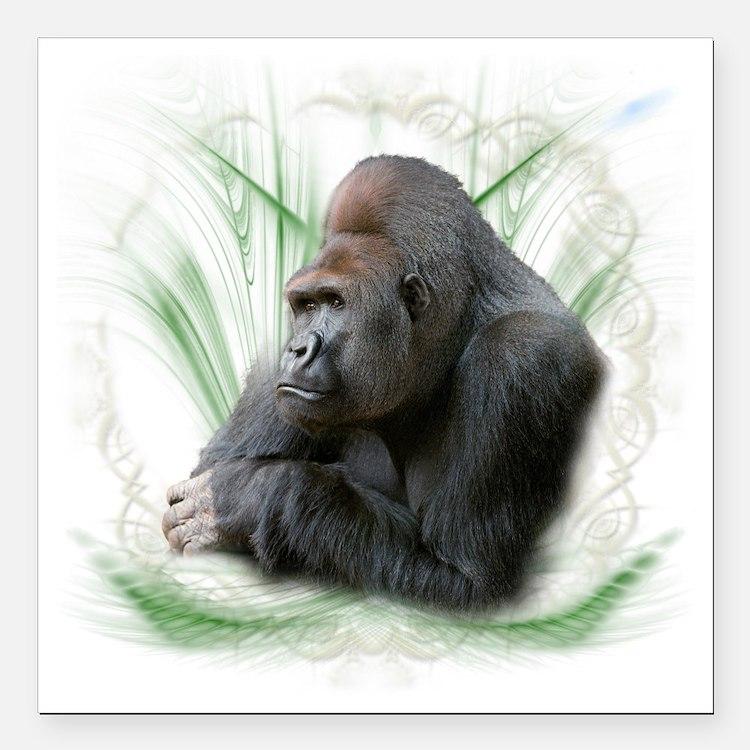 """gorilla1 Square Car Magnet 3"""" x 3"""""""