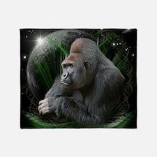 gorilla1black Throw Blanket