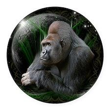 gorilla1black Round Car Magnet