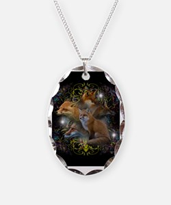 Foxes Necklace Oval Charm