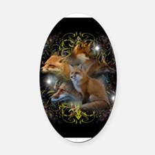 Foxes Oval Car Magnet
