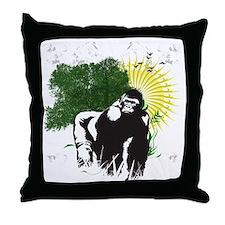 gorilla sunset Throw Pillow